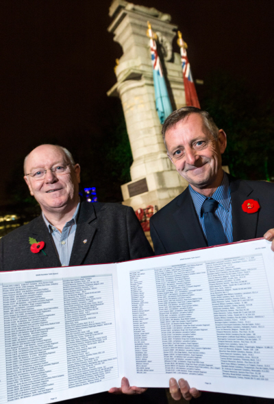 Paul Hanson (left) with Councillor Alan McCarthy and the Roll of Honour.