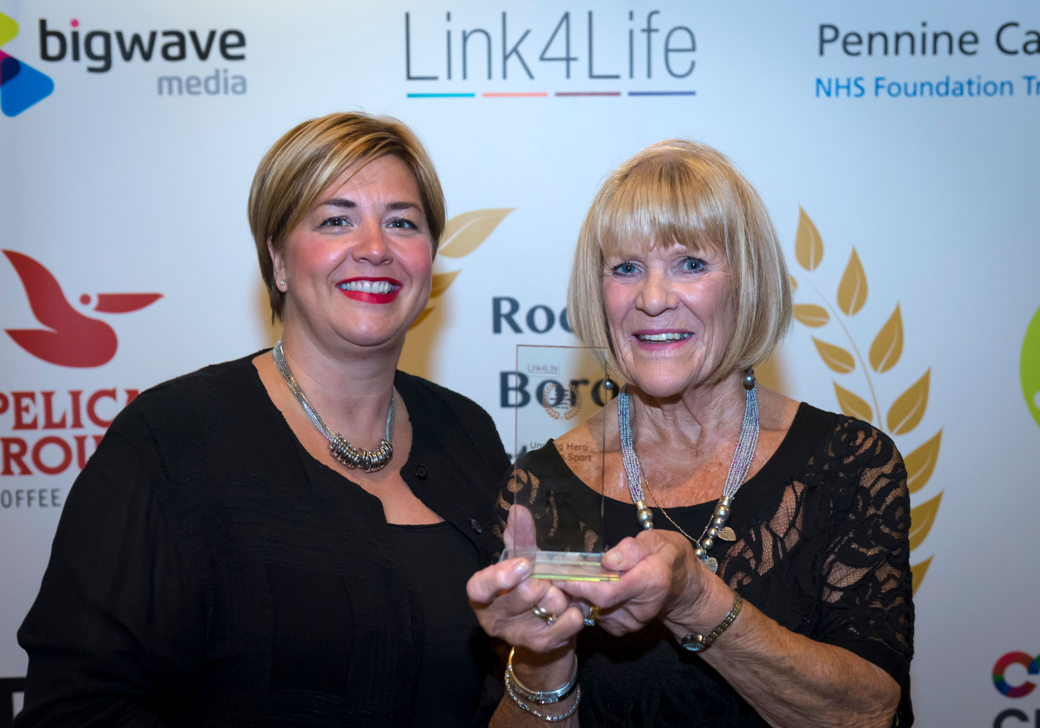 Gillian Bishop (Link4Life Chief Executive) with Beryl Birch at the Awards night.
